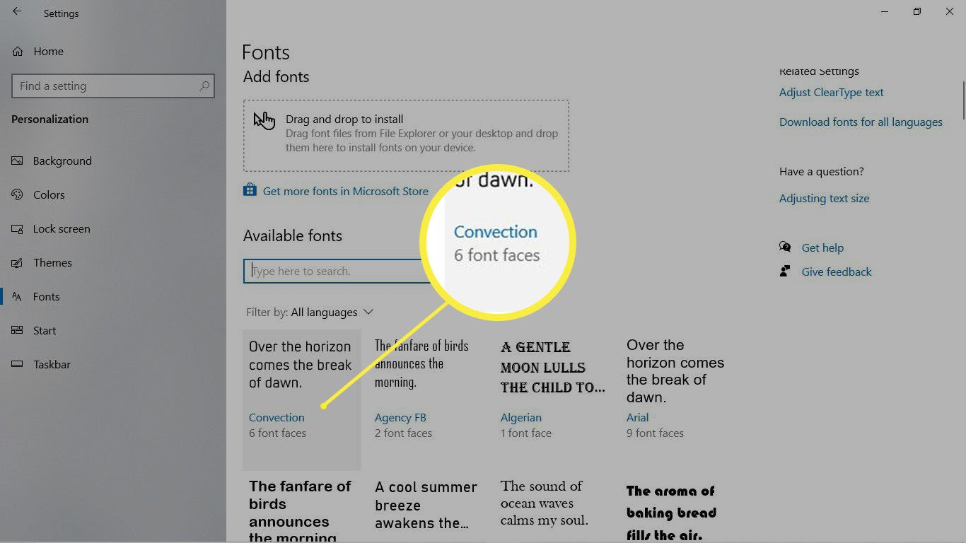 A font is highlighted in the Fonts preference pane in Windows 10.
