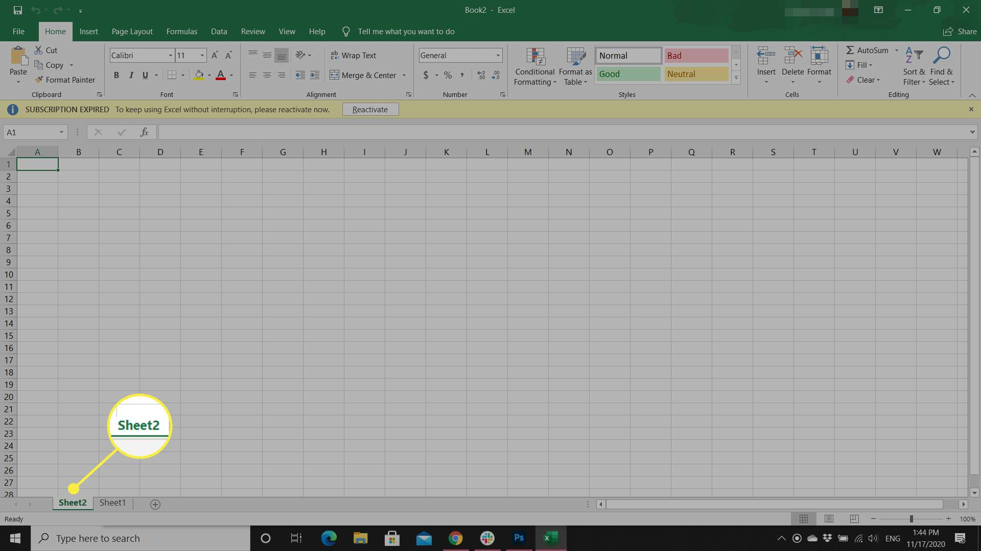 An Excel user creates a new worksheet