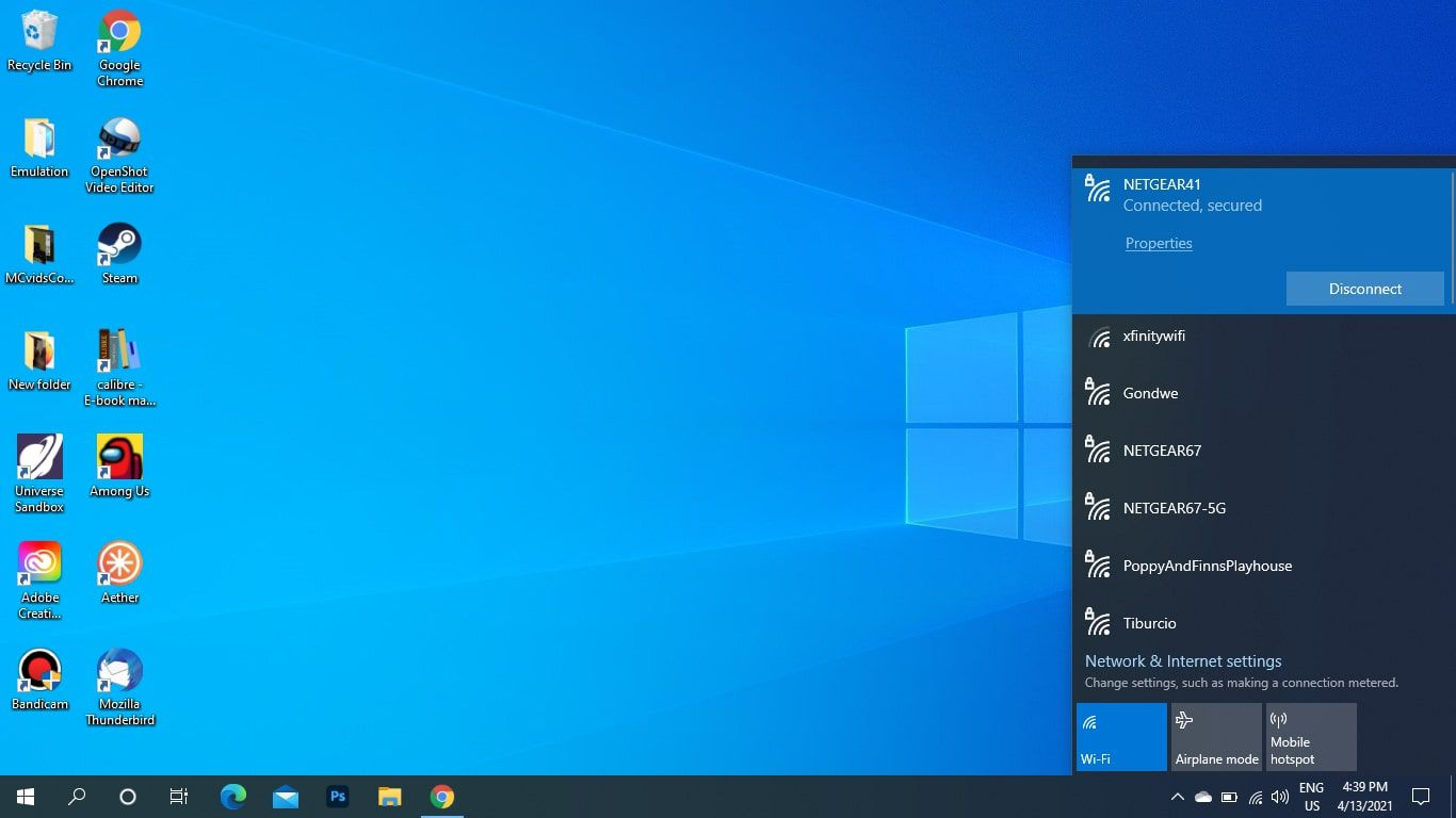 Network connected highlighted in Windows 10 Wi-Fi menu