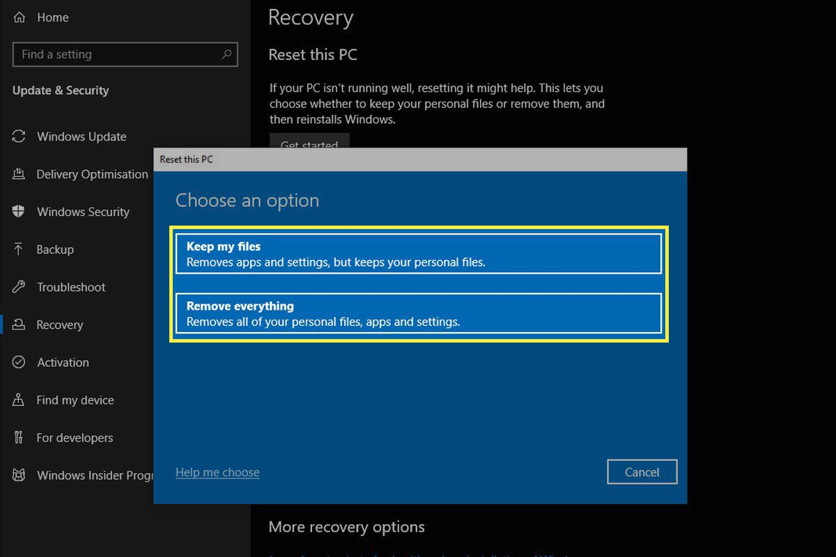 Options for resetting your PC on Windows 10.