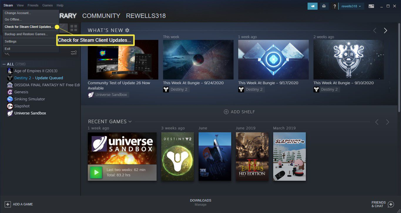 In the Steam client window, select Steam > Check for Steam Client Updates.