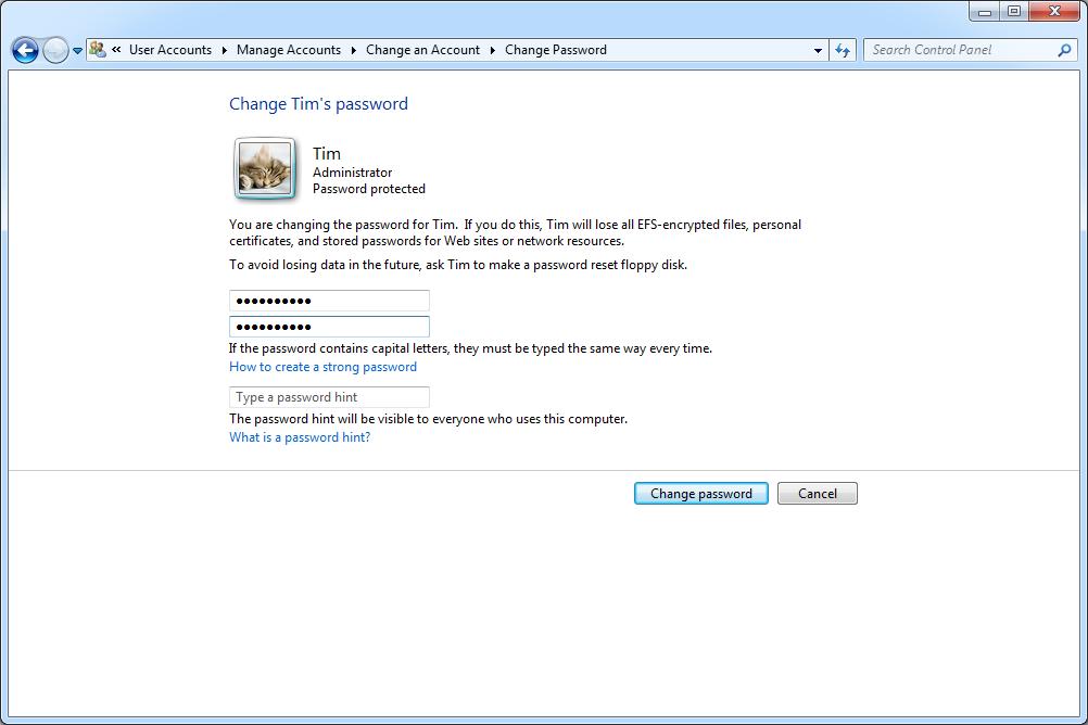 Windows 7 Change Password screen