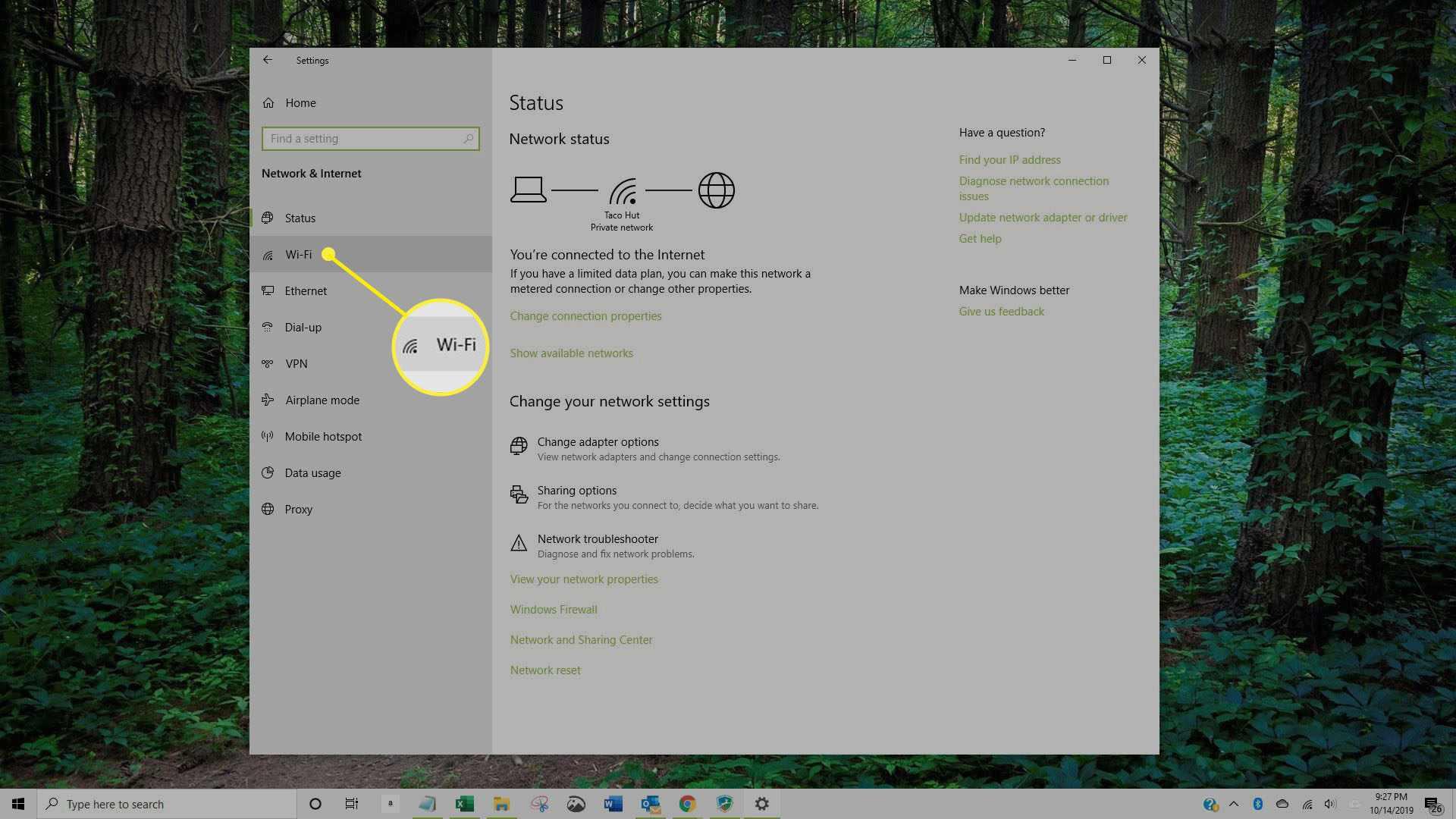 Screenshot of Network & Internet window