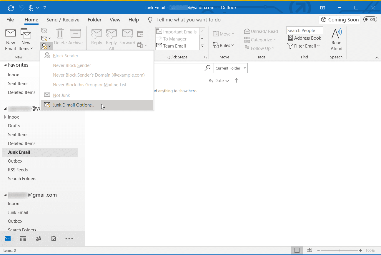 Screenshot of the Junk E-mail Options in Outlook