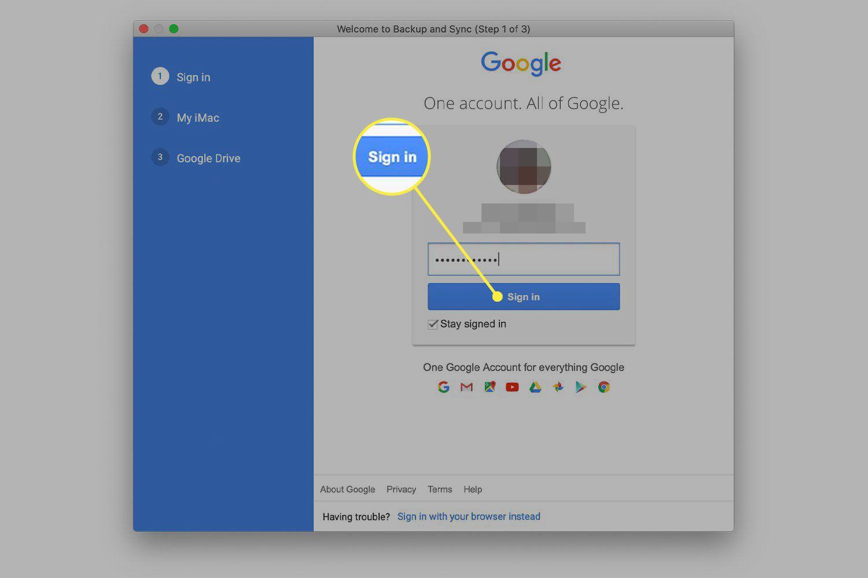 Password screen for Google