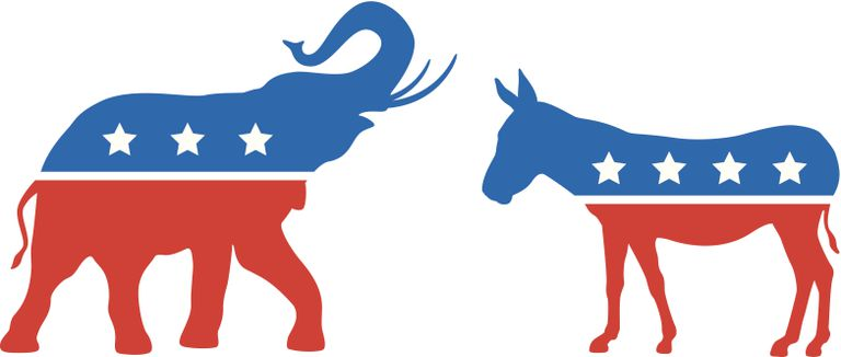 Icons of Democrat and Republican parties elephant and donkey