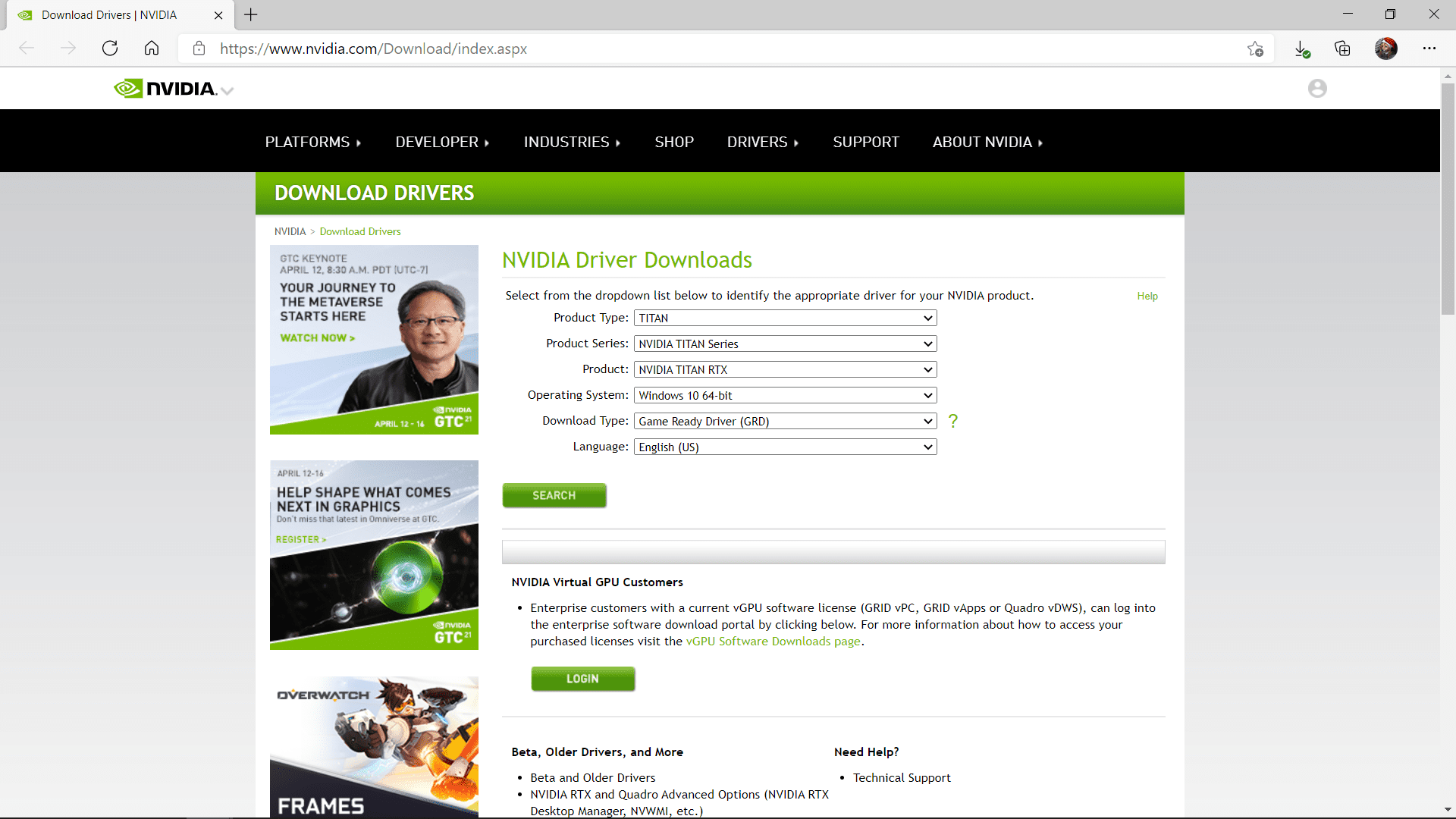 The Nvidia driver download site.