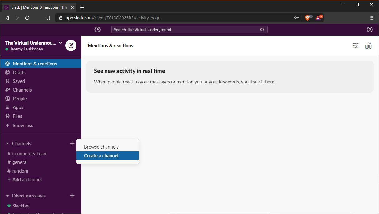 A screenshot of adding a channel in Slack.
