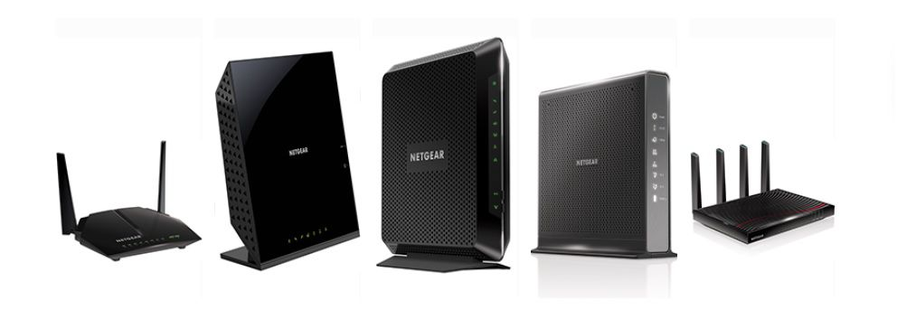 Five different types of modems lined up to show how different they can look.