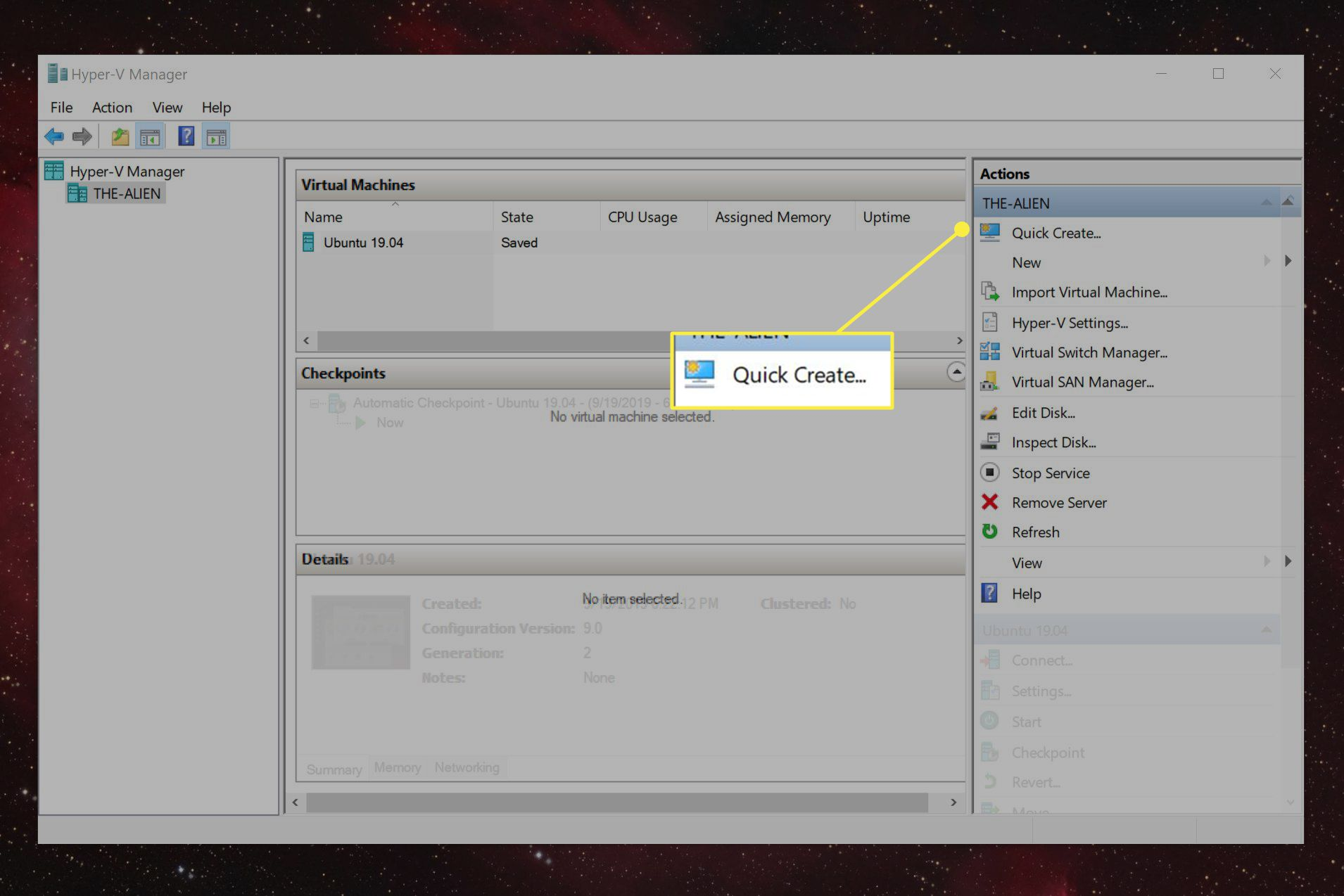 The Quick Create action in Hyper-V Manager