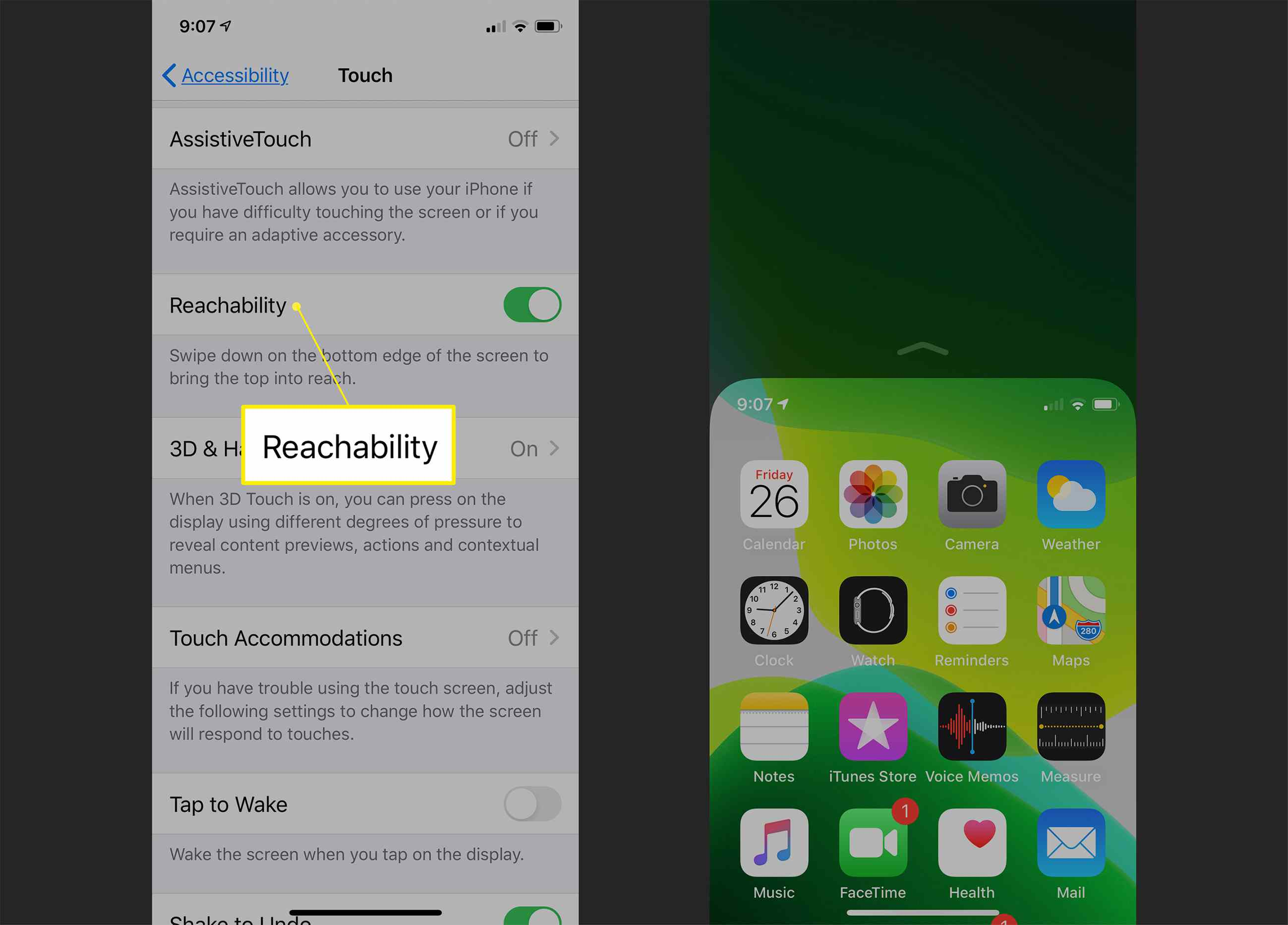 iPhone Touch settings including Reachability