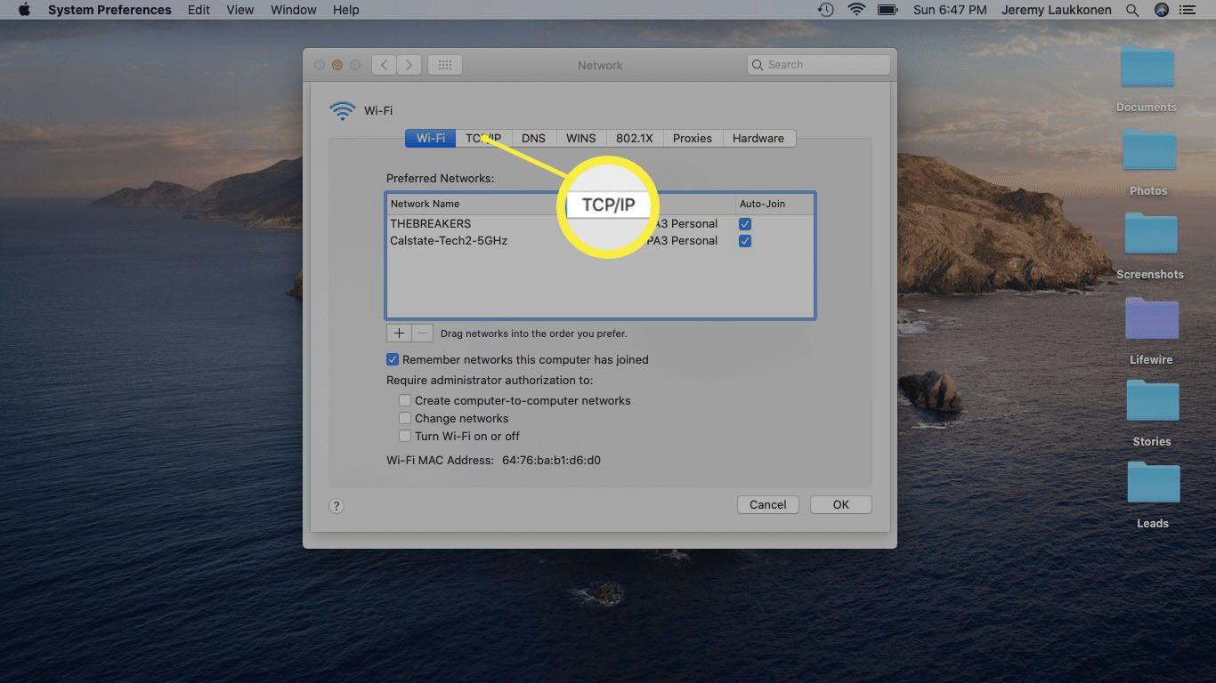 A screenshot of Network settings on a Mac.