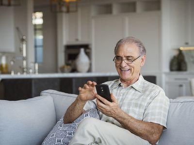 Senior citizen using smartphone