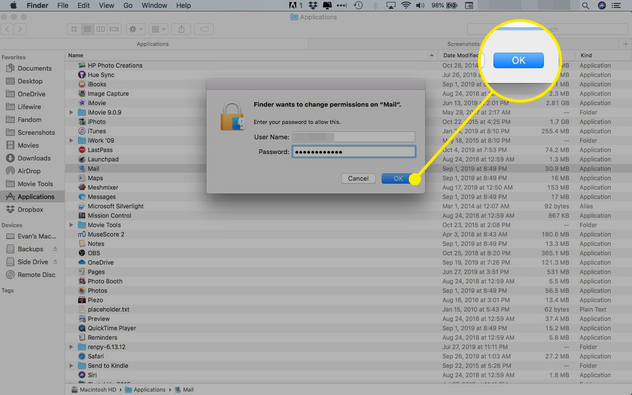 Administrator permission prompt on a Mac with the OK button highlighted