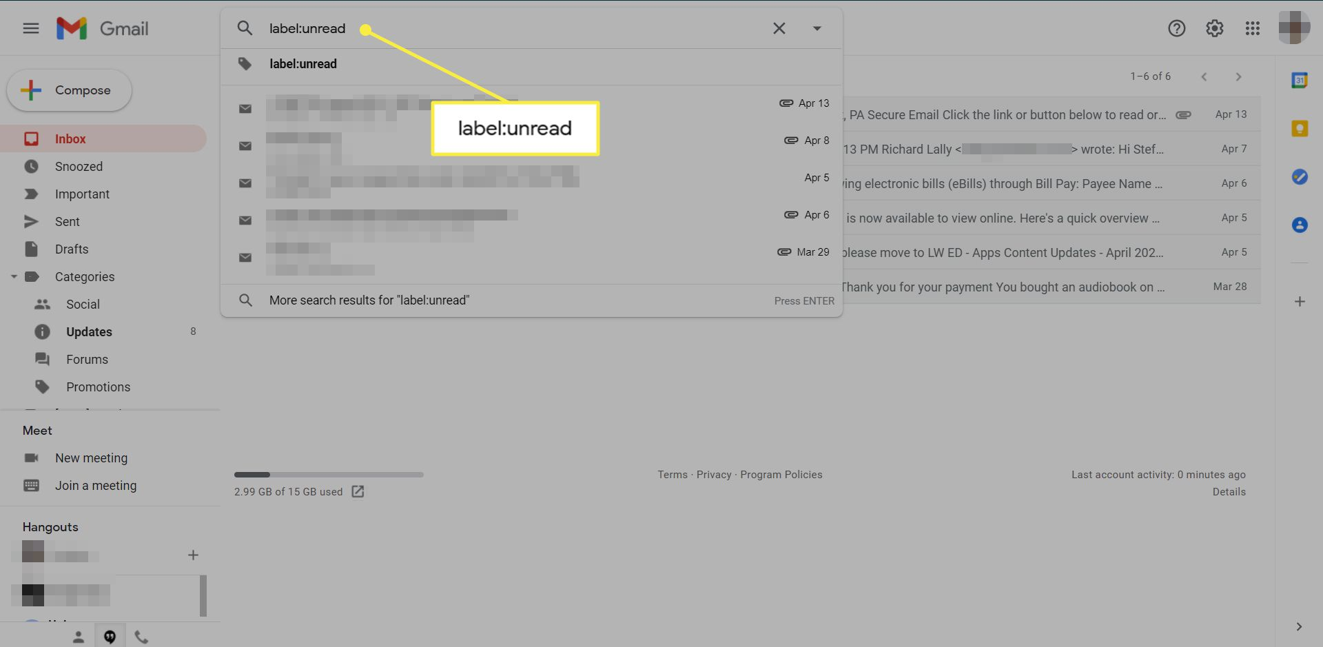 A Gmail inbox with a label search in the Search box highlighted