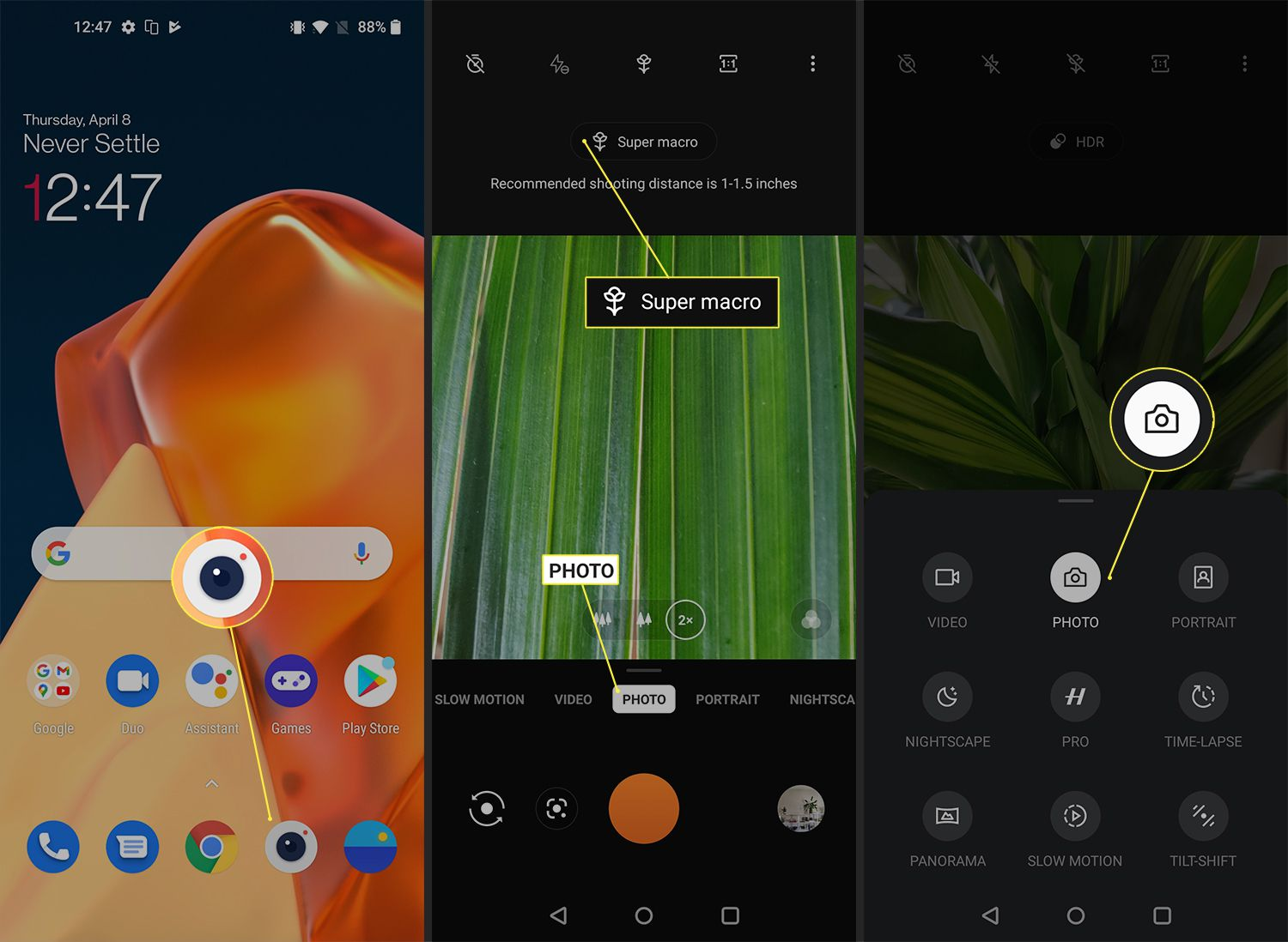 OnePlus 9 camera mode options and settings