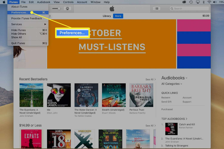 iTunes preferences in iTunes menu bar drop-down menu