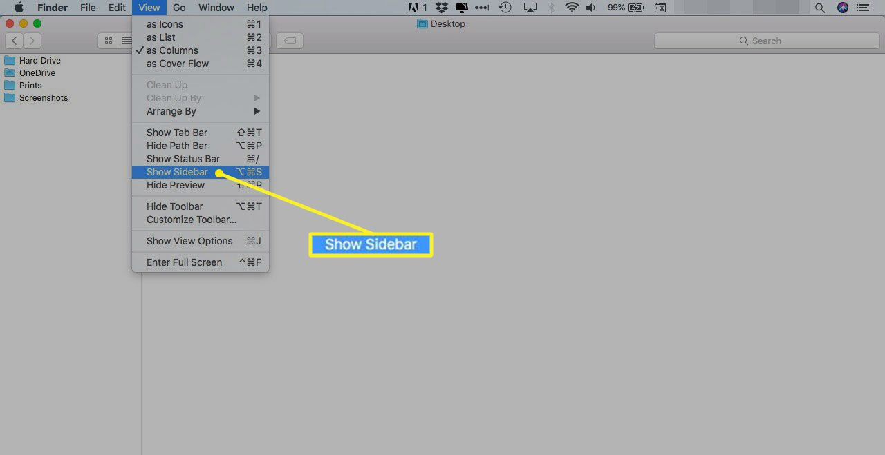 Finder View menu with Show Sidebar highlighted