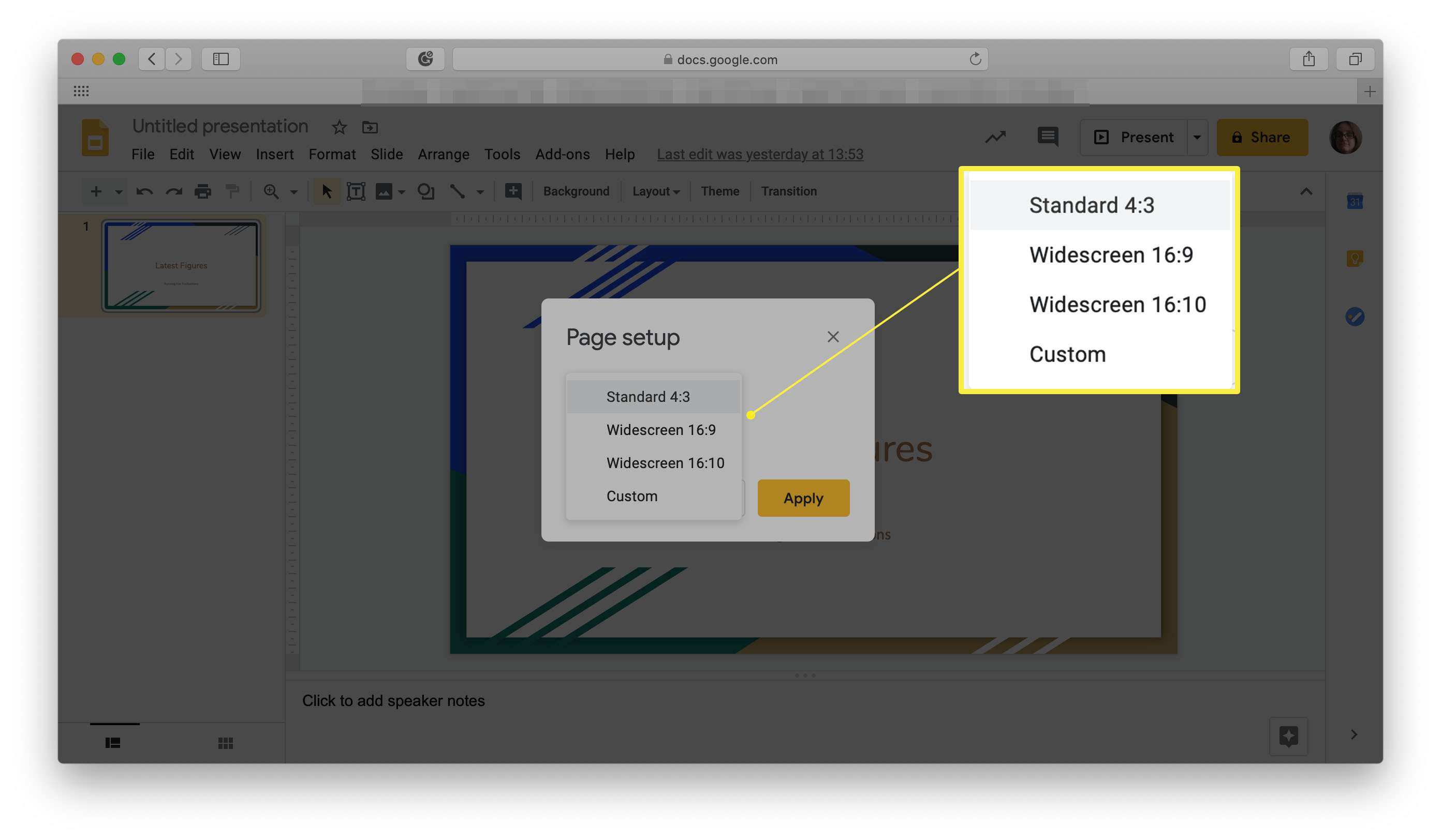 Google Slides with variety of different page setup sizes highlighted