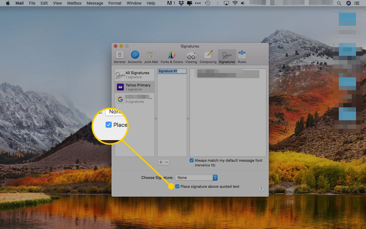 Apple Mail's Signatures preferences with the