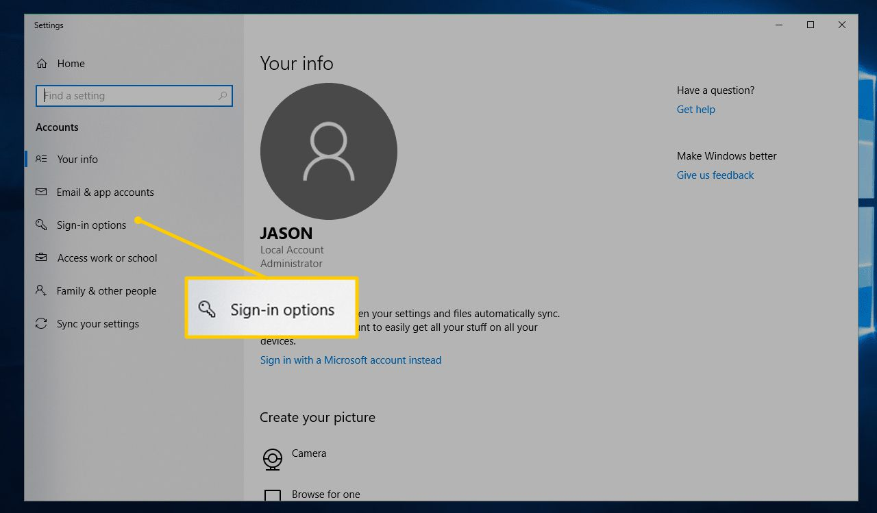 Sign-in options in Settings