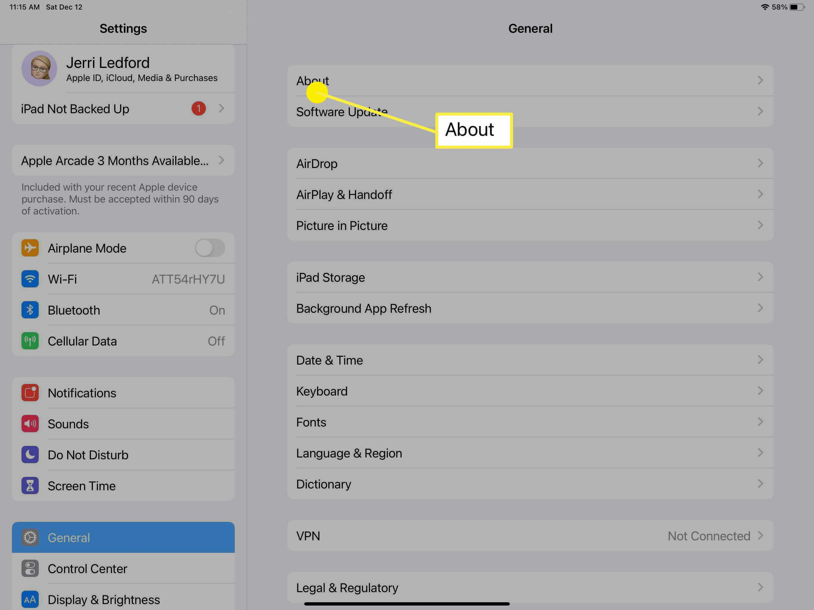 The About option in the iPad's General Settings.