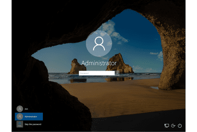 Screenshot of the Administrator login prompt in Windows 10