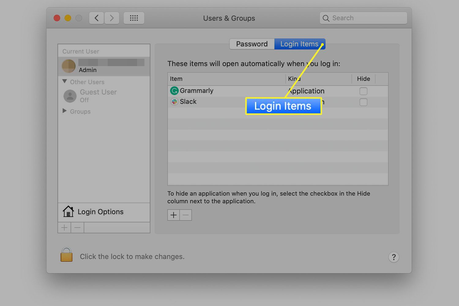 Login Items tab selected on Mac Users & Groups preference screen