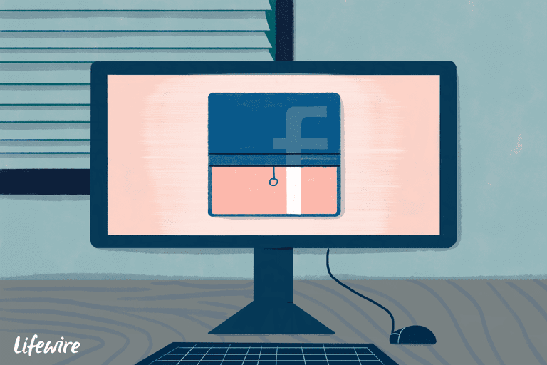 Illustration of a facebook logo behind a pull-down window shade on a computer monitor