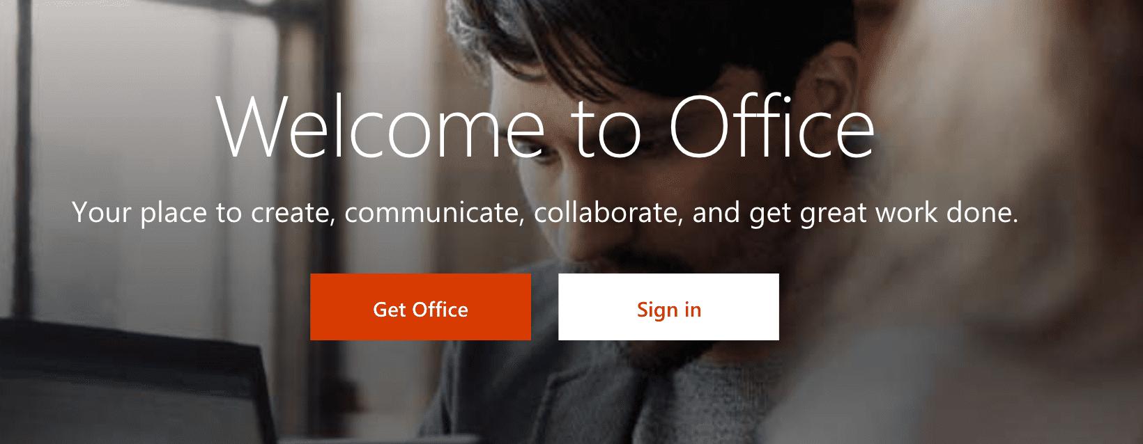 Microsoft 365 welcome screen