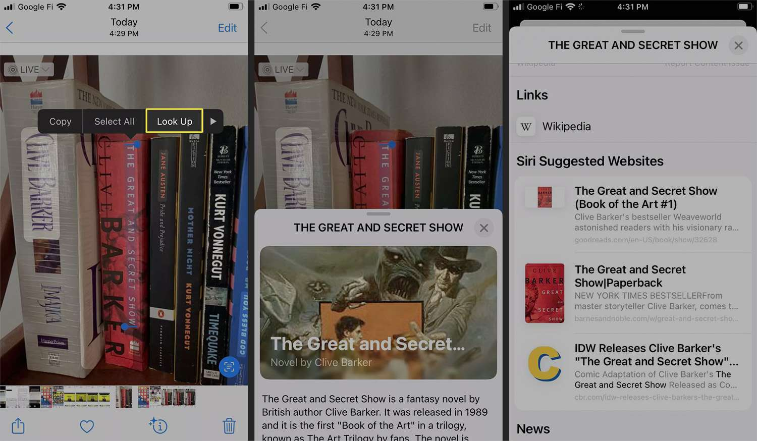 The Look up option selected from highlighted text in the Photos app using Live Text.