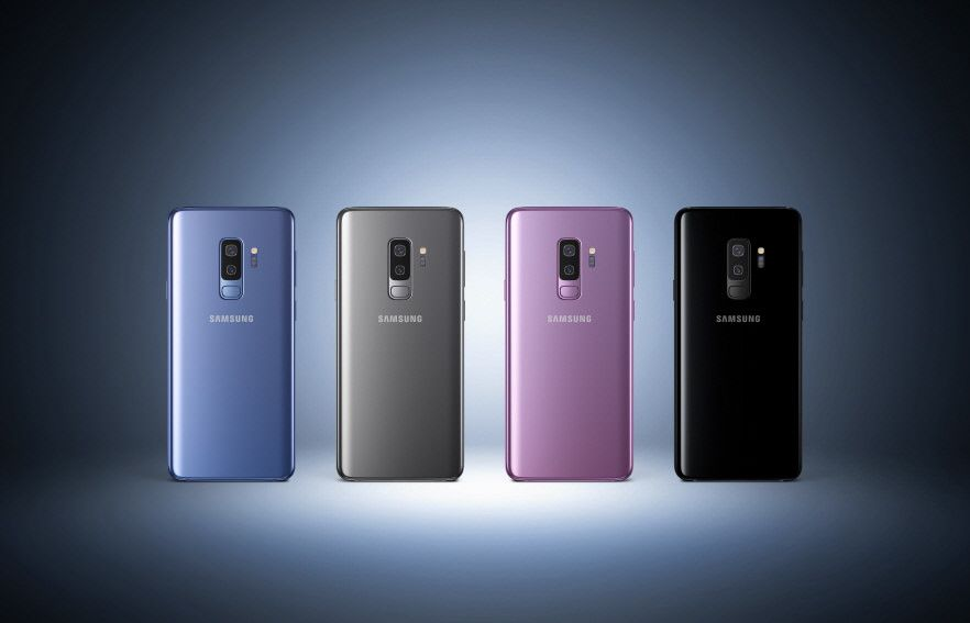 Samsung Galaxy S9 smartphones in blue, grey, pink and black