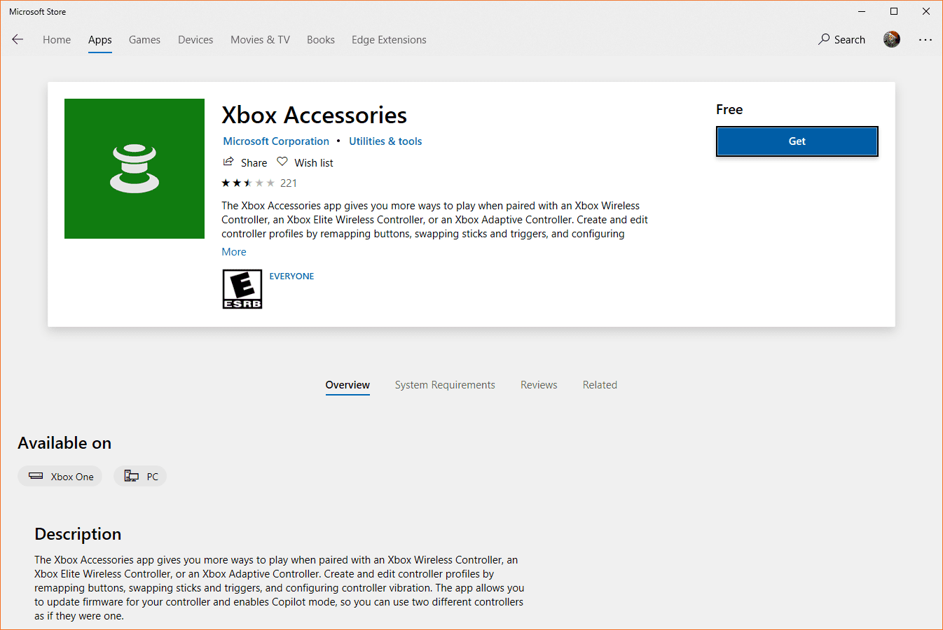 A screenshot of the Xbox Accessories app on the Microsoft Store.