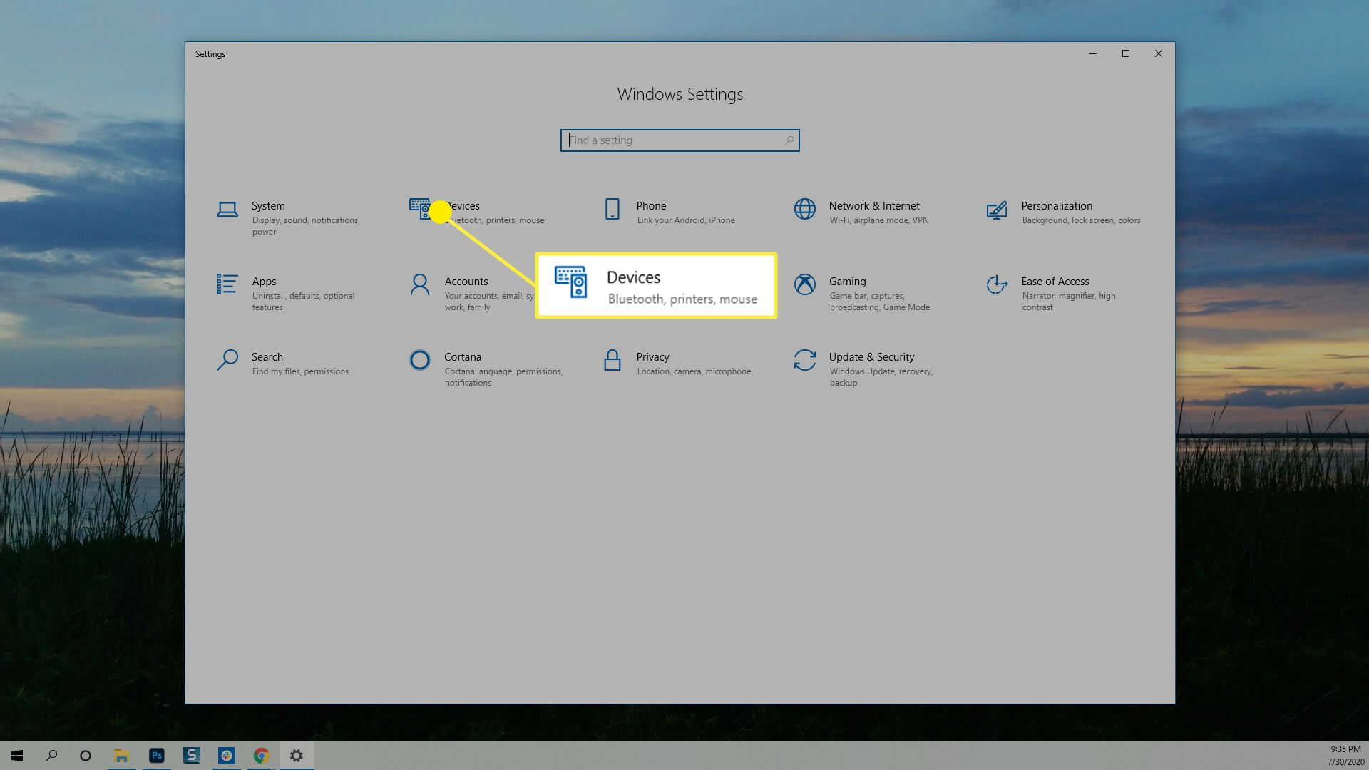 The Devices option in Windows Settings.