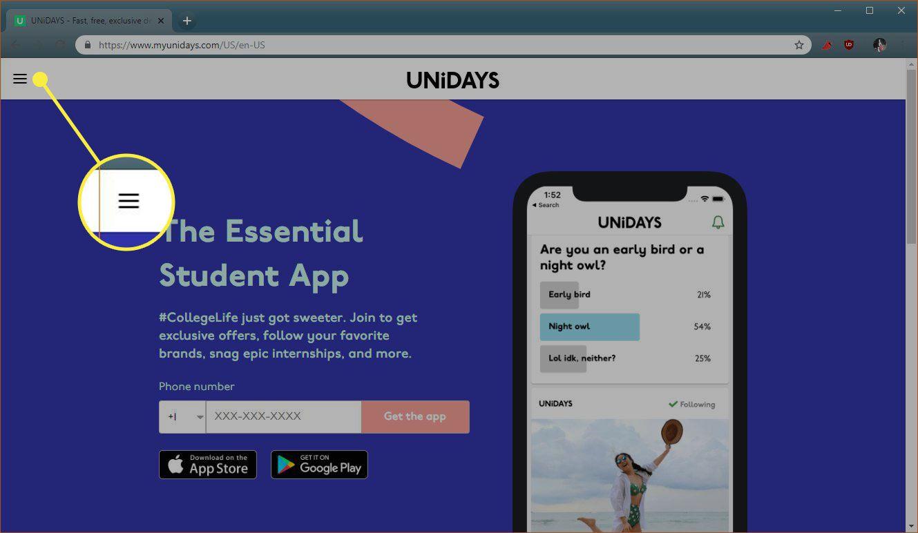 The menu button on UniDays
