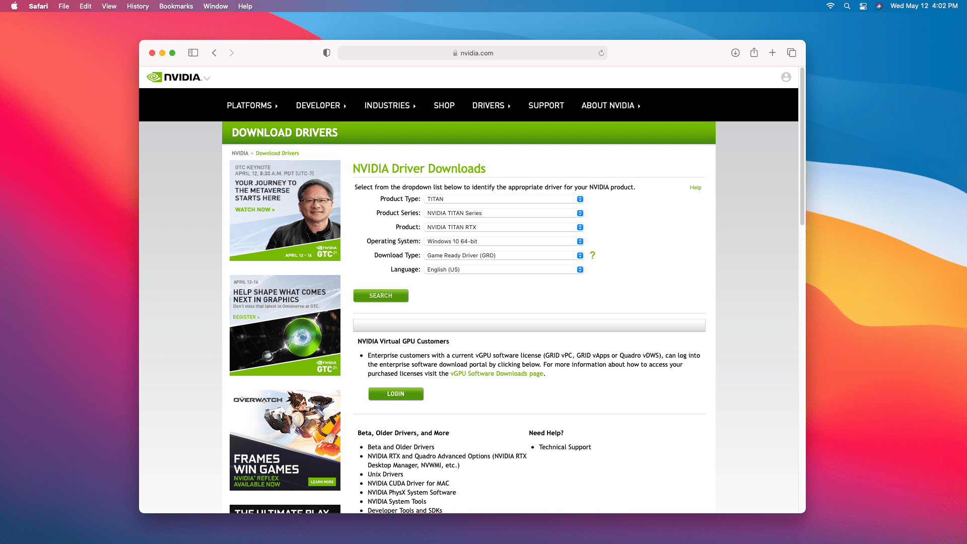 The Nvidia driver download site on a Mac.