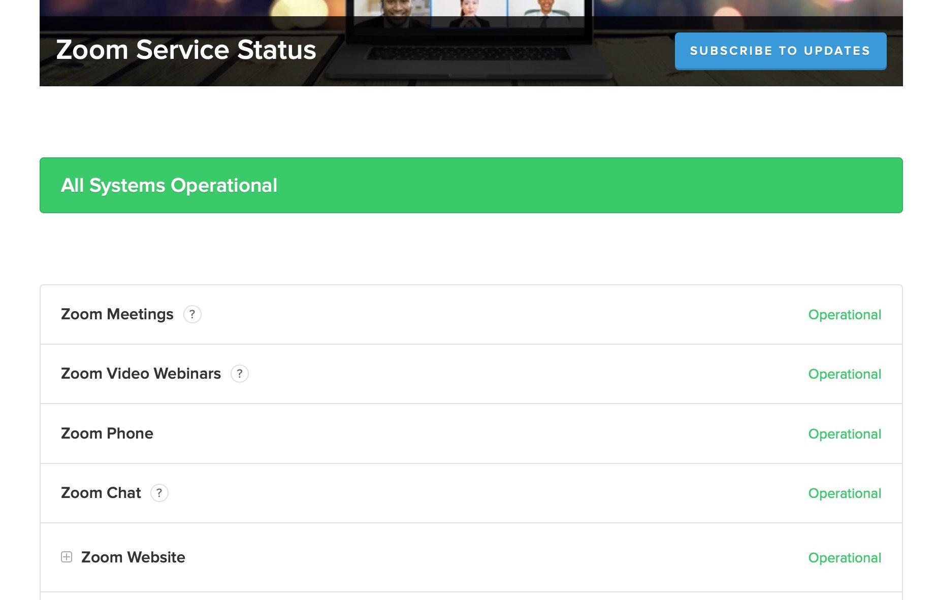 Zoom Service Status website