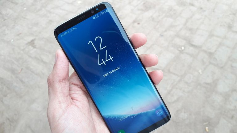 Samsung Galaxy S8 in a person's hand