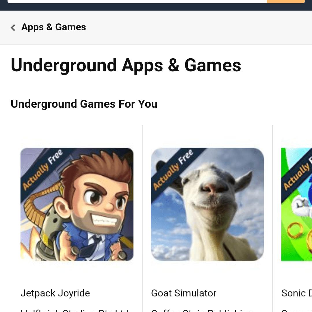 página de inicio para Amazon metro de juegos y aplicaciones en Chrome para Android