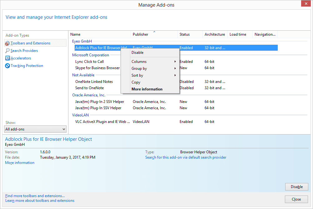 Disable option for Internet Explorer add-on