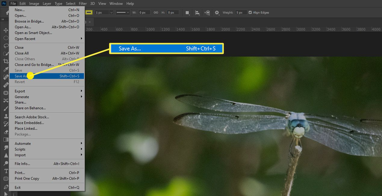 The Save As option in Photoshop.