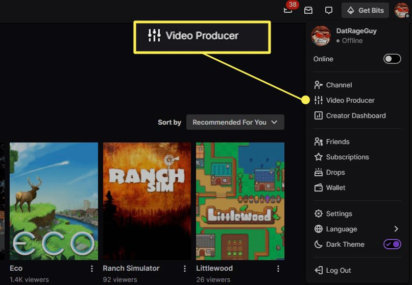 Twitch account menu with Video Producer highlighted