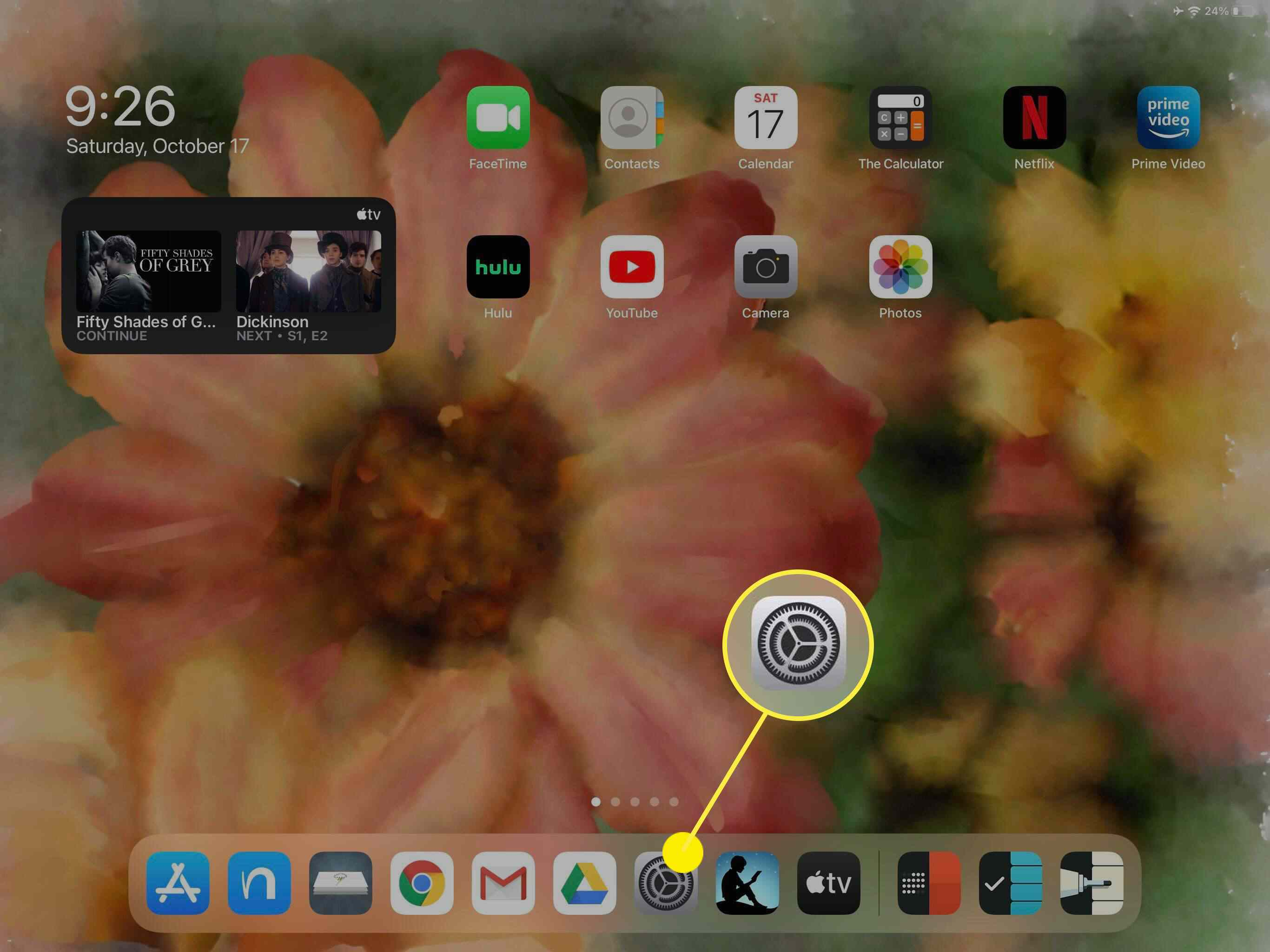 The Settings icon on iPadOS 14.