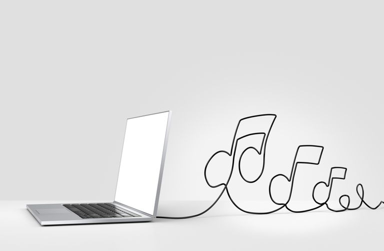 Laptop with music notes