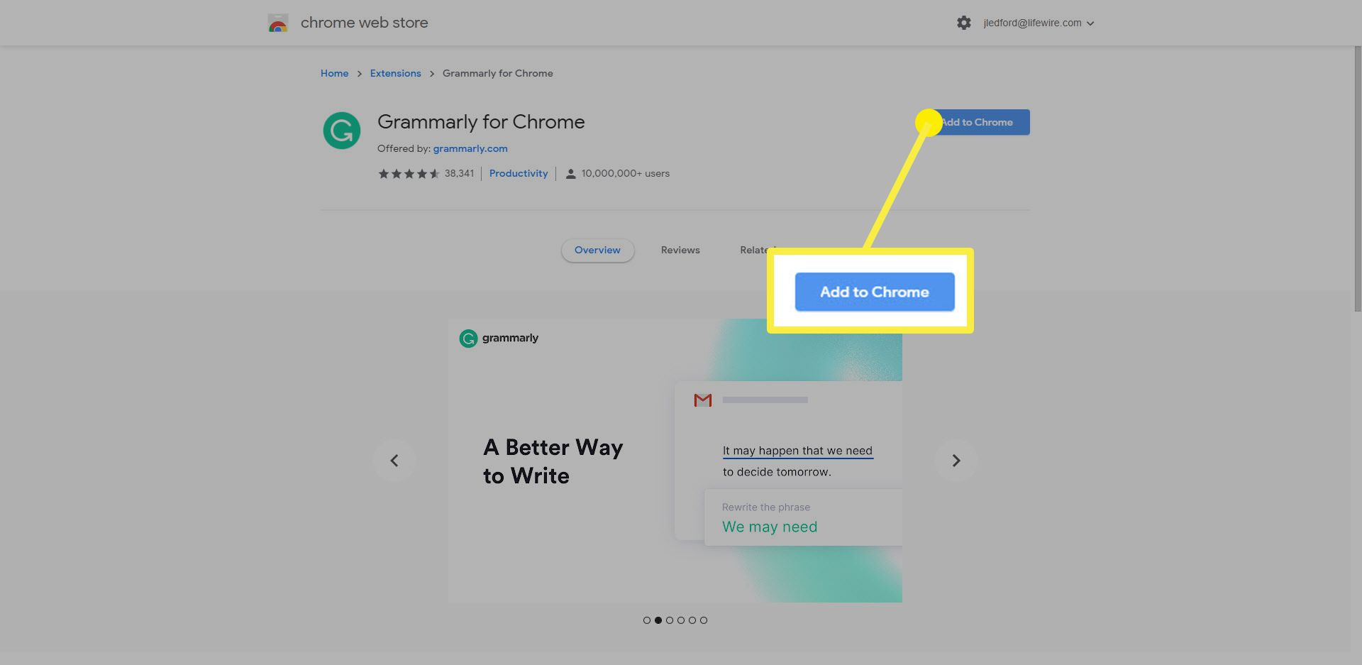 The Add to Chrome option on the Grammarly extension for Chrome.