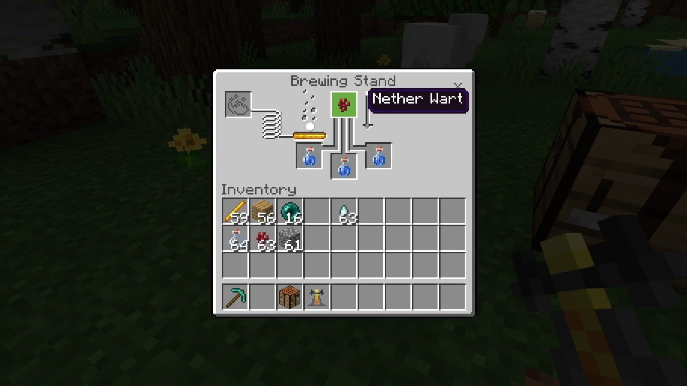 Put 1 Nether Wart in the box at the top of the brewing menu.