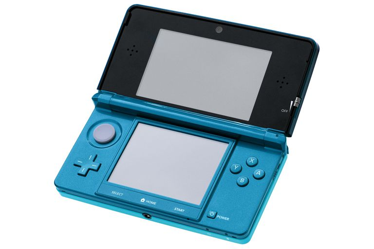 A Nintendo 3DS in Aqua Blue, photo taken during the 3DS launch event in NYC.