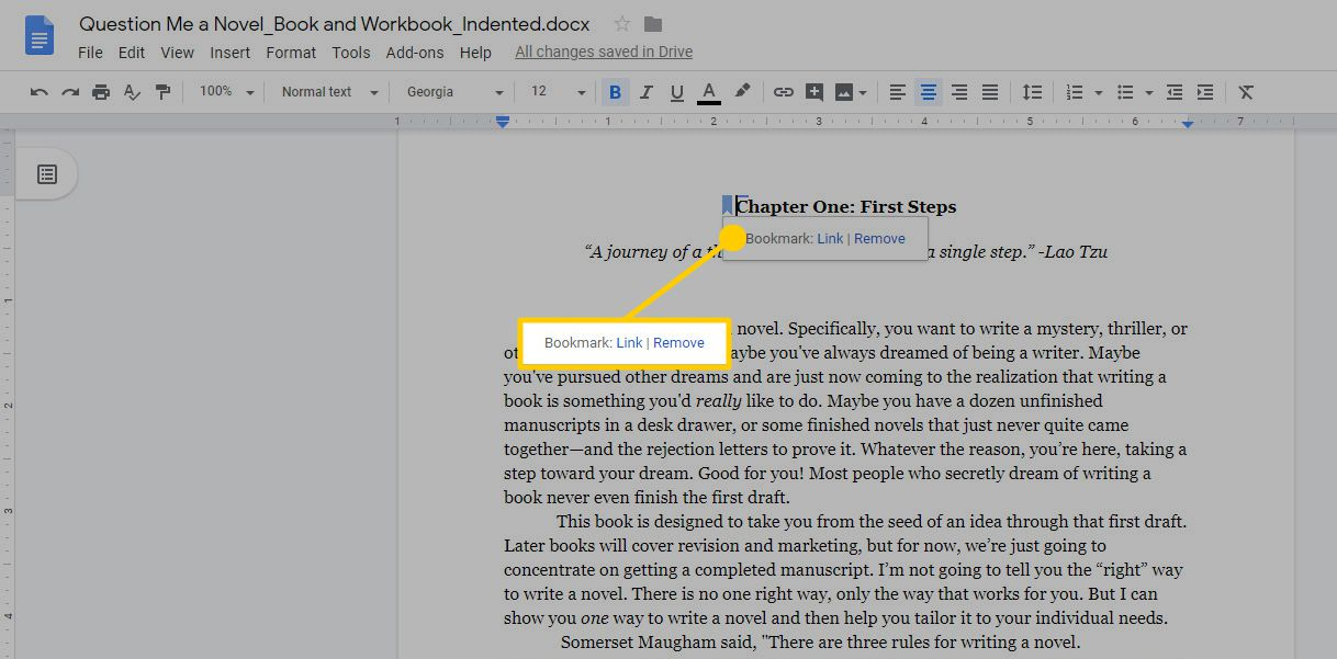 The bookmark Link and Remove options in Google Docs.