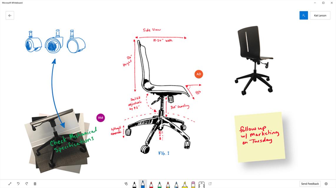 Microsoft Whiteboard app for taking notes.