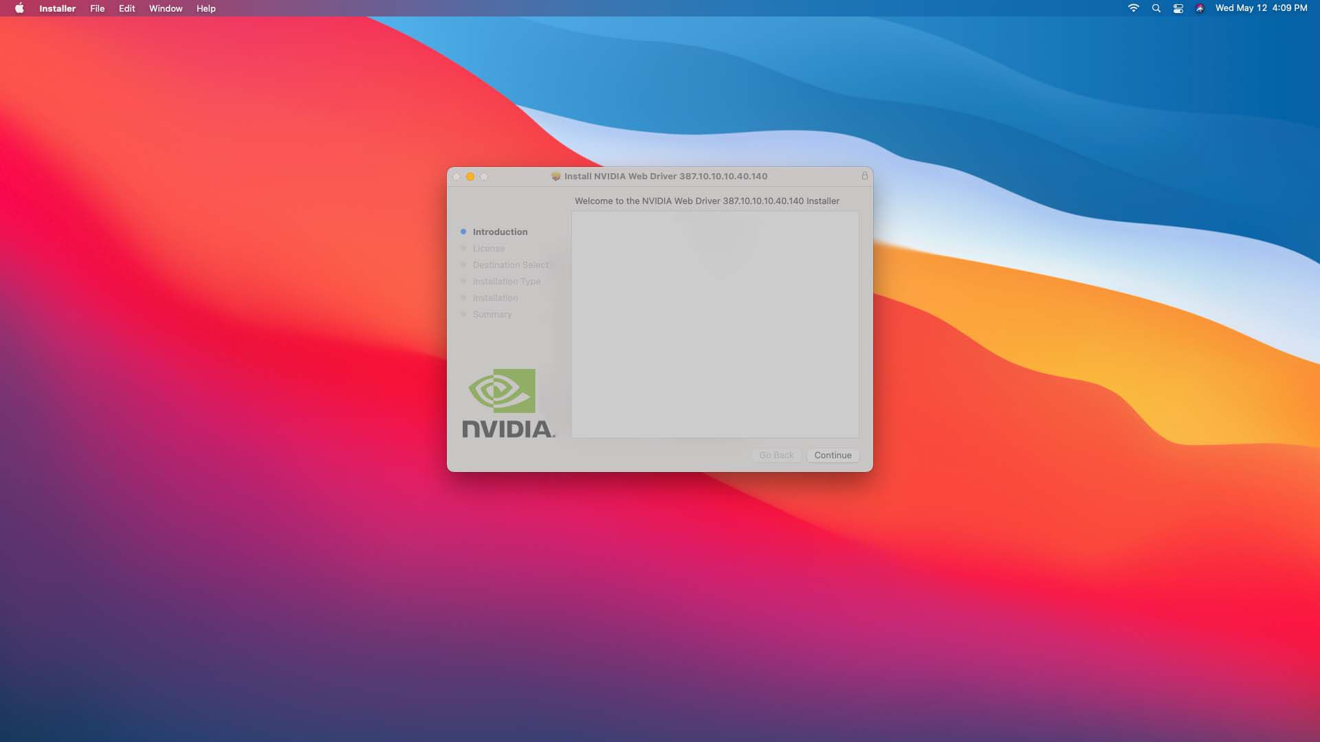 Continue highlighted on the Nvidia driver installer on a Mac.